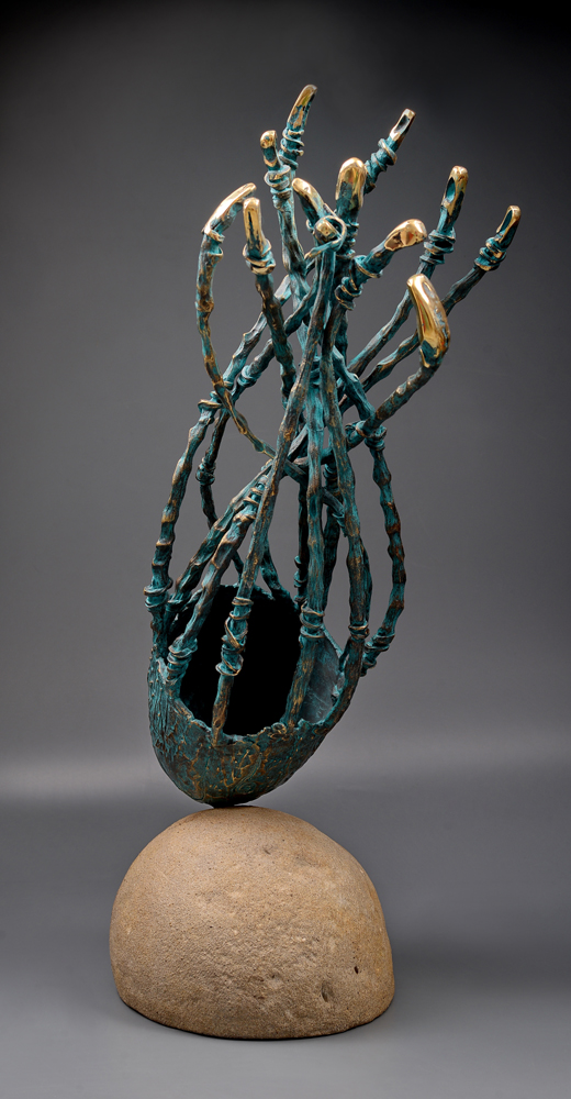 Blue planet, Bronze sculpture, 75 cm, 3900E, Bumbu Liviu