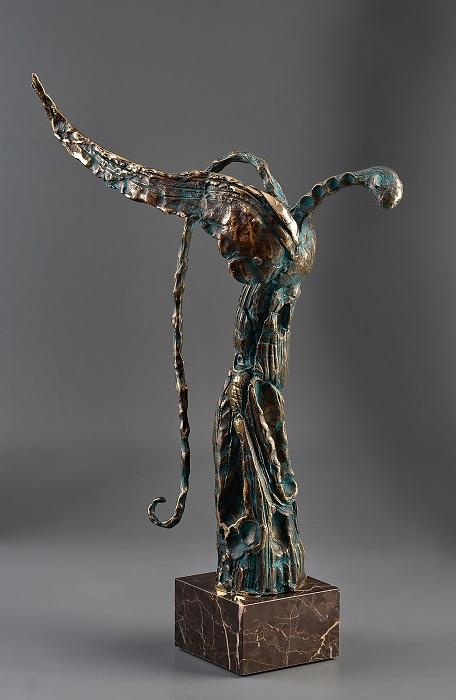 Angels' Revelation: Angel II - Bronze-marble sculpture, 66cm, 2016